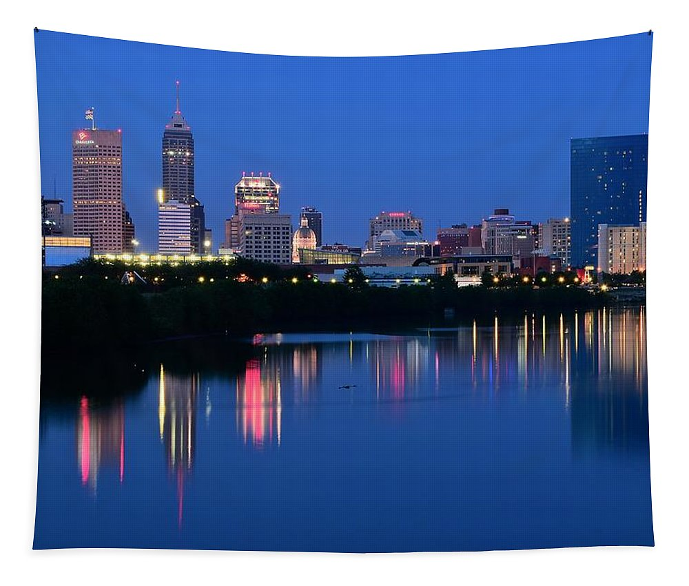 Indianapolis Tapestry featuring the photograph Blue Indianapolis by Frozen in Time Fine Art Photography