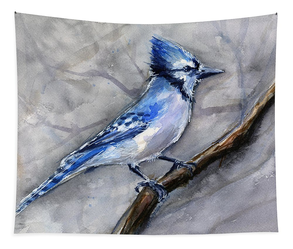 Animal Tapestry featuring the painting Blue Jay Watercolor by Olga Shvartsur