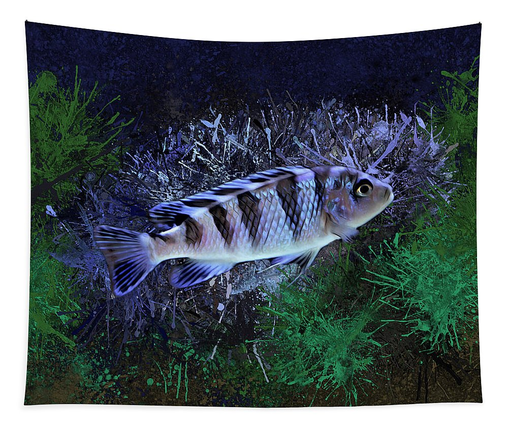 Kenyi Cichlid  Tapestry featuring the digital art Blue Kenyi Cichlid by Scott Wallace Digital Designs