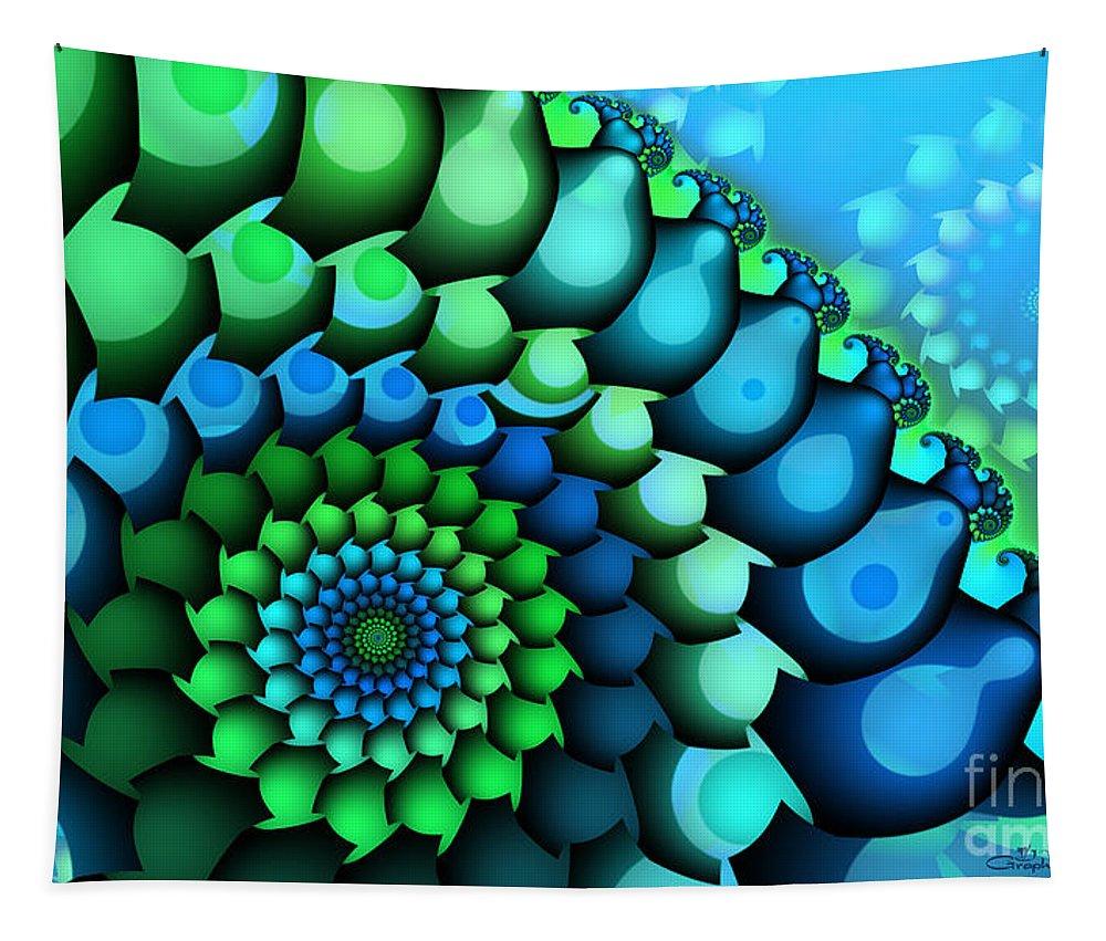 Fractal Tapestry featuring the digital art Blue Meets Green by Jutta Maria Pusl