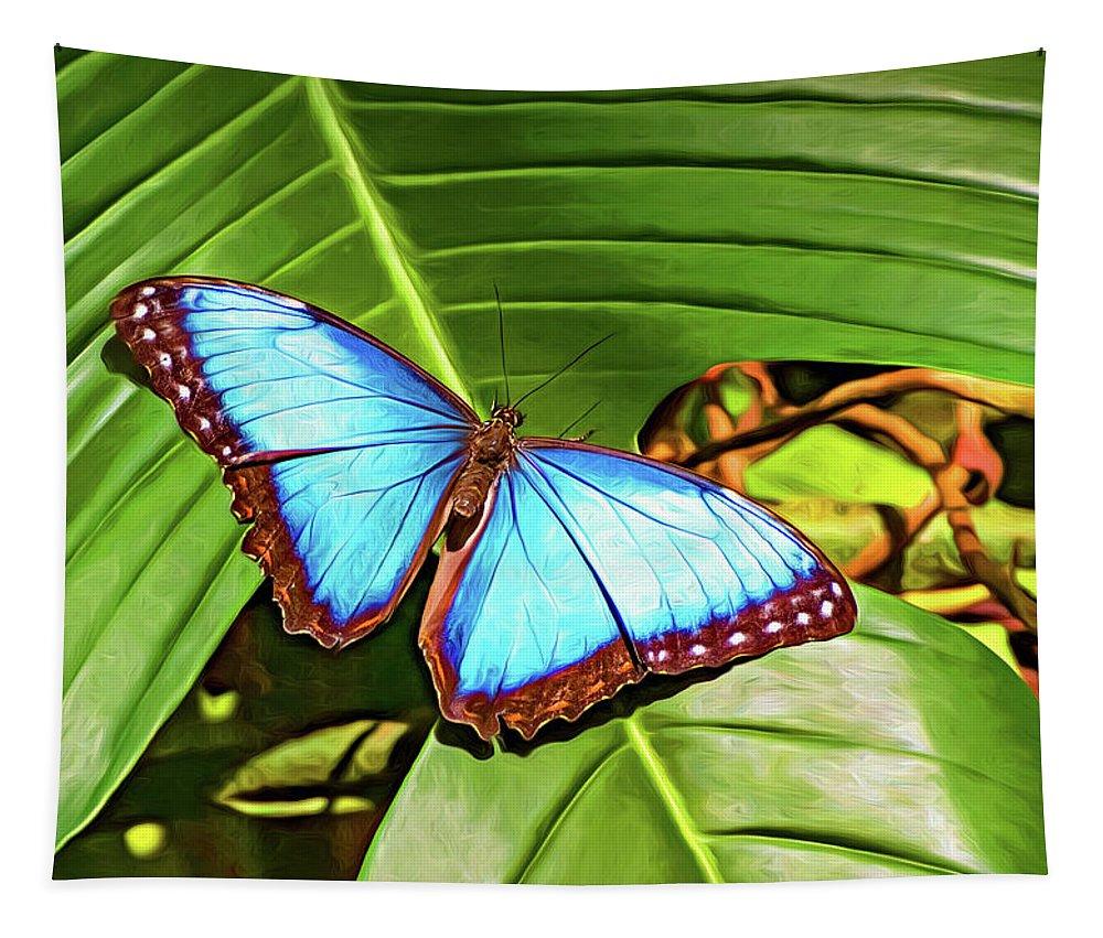 Steve Harrington Tapestry featuring the photograph Blue Morpho Butterfly 2 - Paint by Steve Harrington