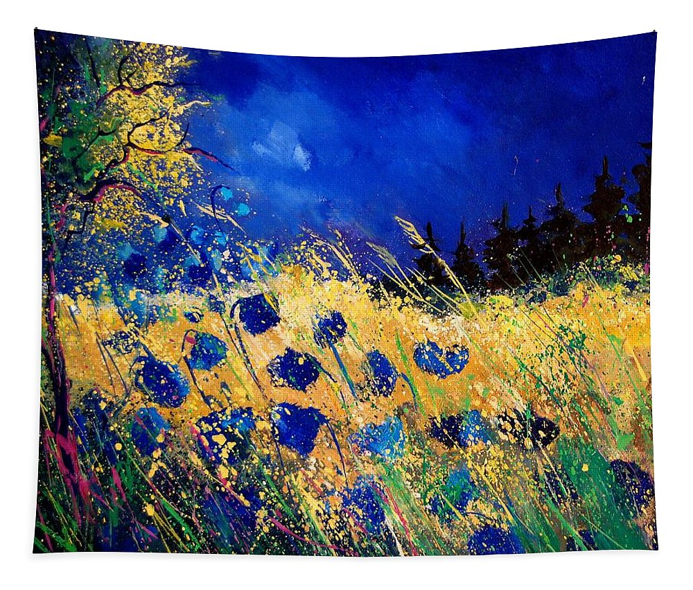 Flowers Tapestry featuring the painting Blue Poppies 459070 by Pol Ledent