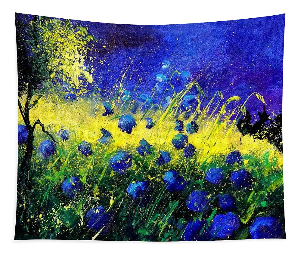 Flowers Tapestry featuring the painting Blue Poppies by Pol Ledent