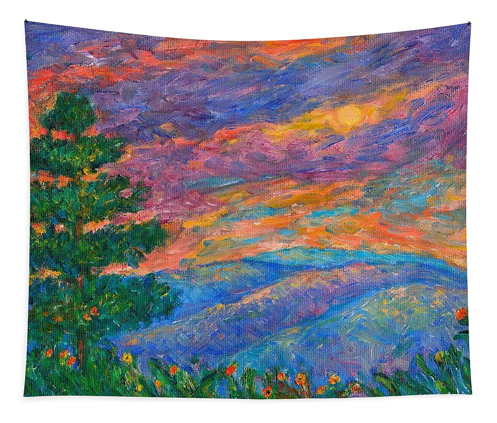 Mountains Tapestry featuring the painting Blue Ridge Jewels by Kendall Kessler