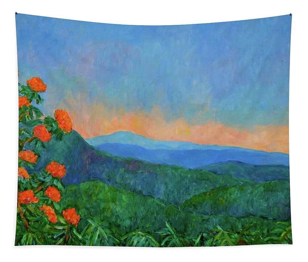 Kendall Kessler Tapestry featuring the painting Blue Ridge Morning by Kendall Kessler