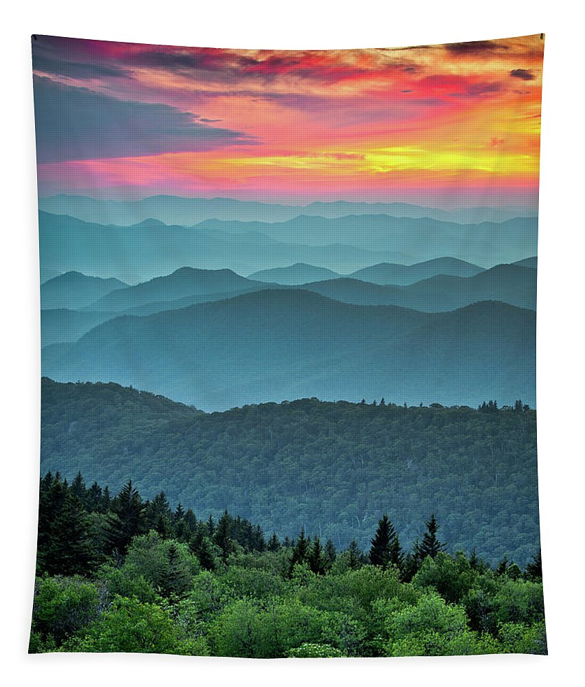 Blue Ridge Parkway Tapestry featuring the photograph Blue Ridge Parkway Sunset - The Great Blue Yonder by Dave Allen