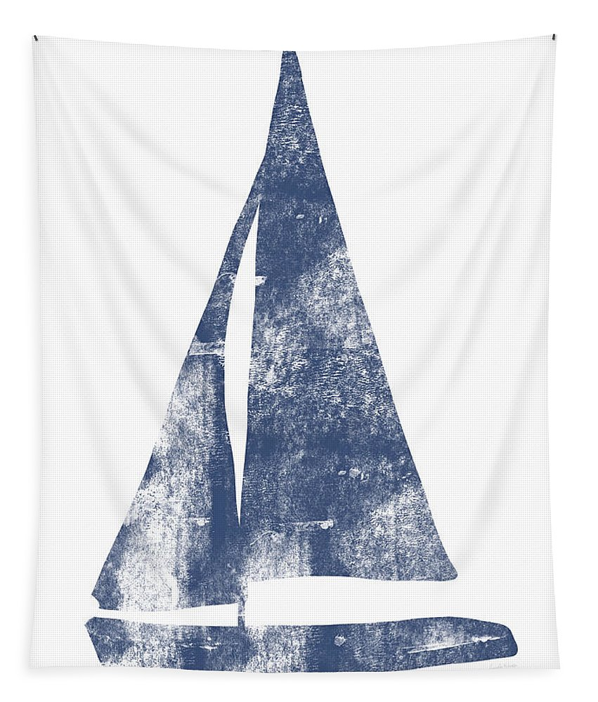 Boat Tapestry featuring the painting Blue Sail Boat- Art By Linda Woods by Linda Woods