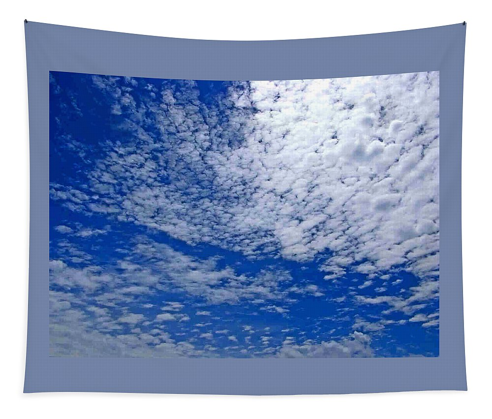 Sky Tapestry featuring the photograph Blue Sky With Clouds by Dragica Micki Fortuna