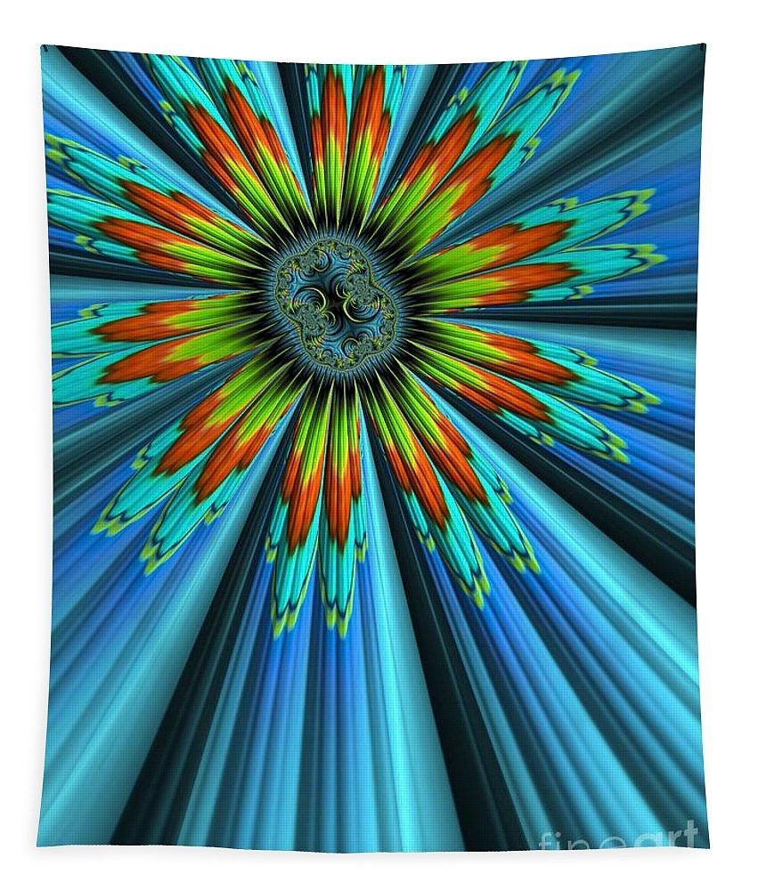 Sunburst Tapestry featuring the digital art Blue Sun by John Edwards