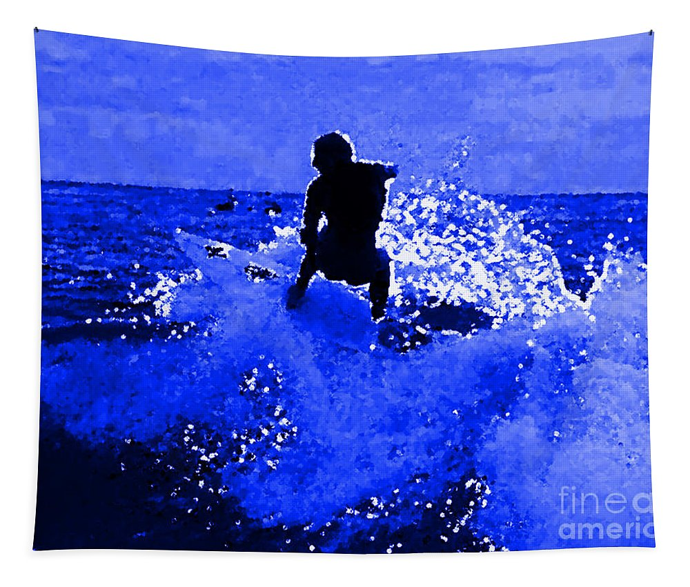 Blue Surf Tapestry featuring the painting Blue Surf by R Muirhead Art