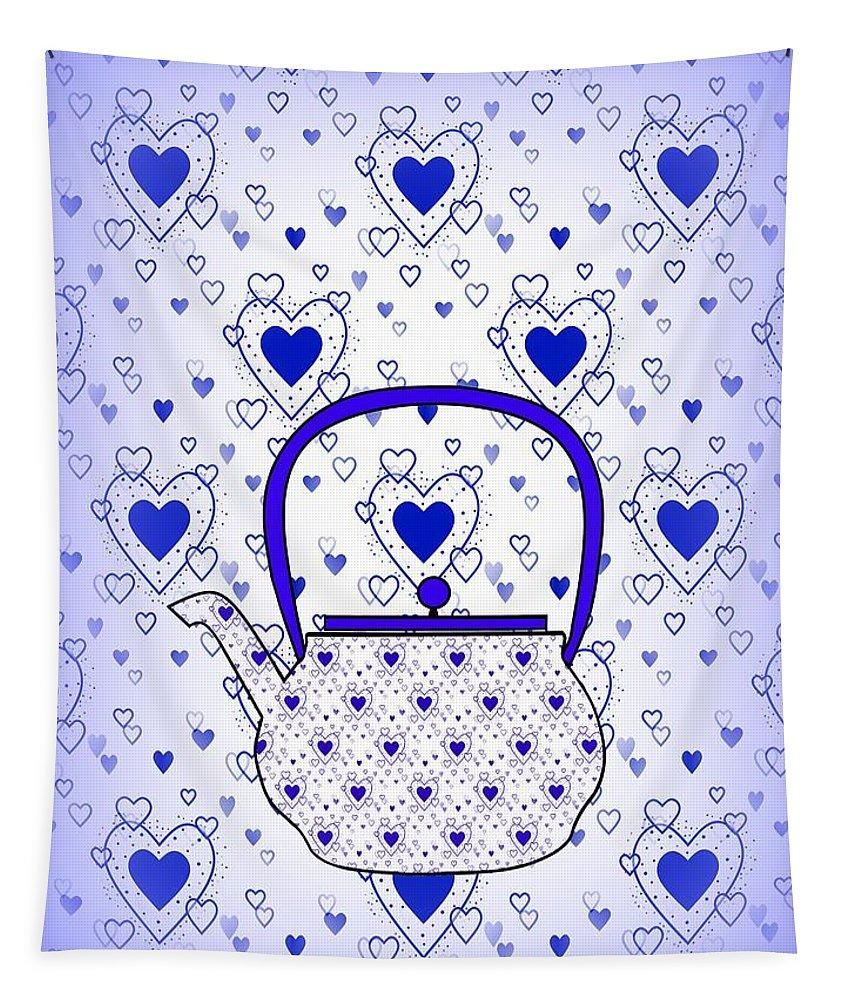 Contemporary Teapot Art Tapestry featuring the digital art Blue Teapot - Kitchen by Kathleen Sartoris