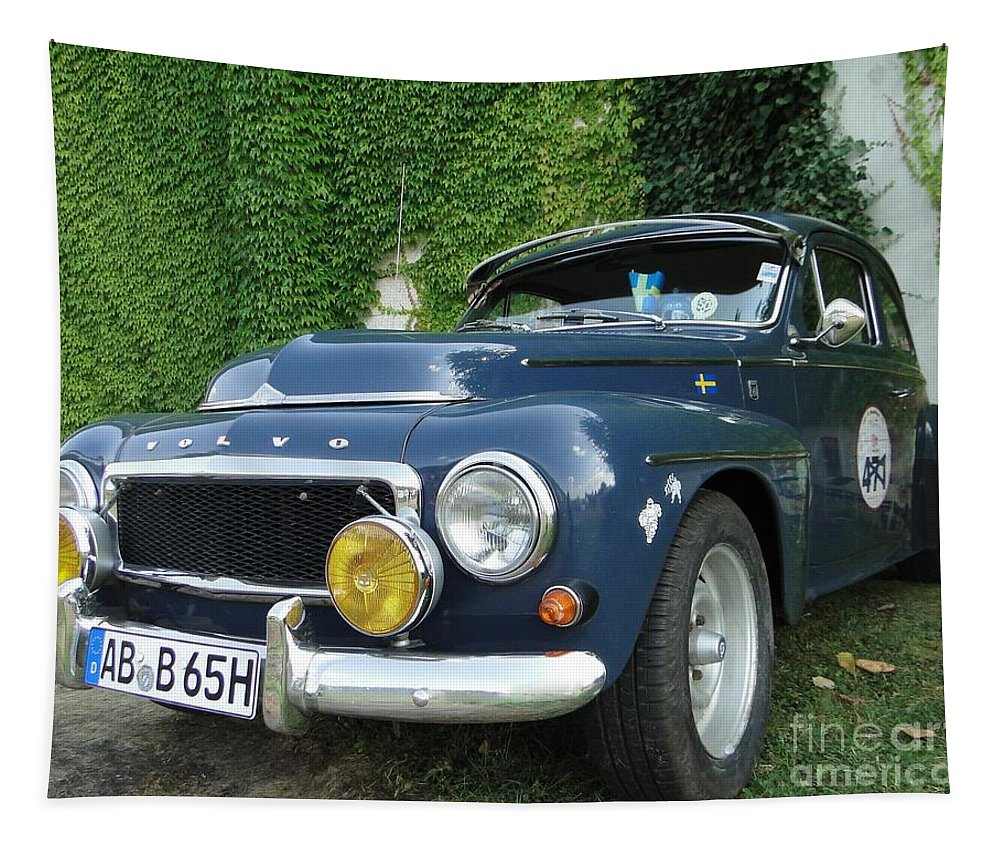 Blue Volvo Tapestry featuring the photograph Blue Volvo by Barbie Corbett-Newmin