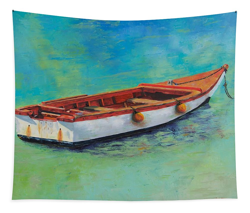 Wood Tapestry featuring the painting Blue Water Gem by Rosie Phillips