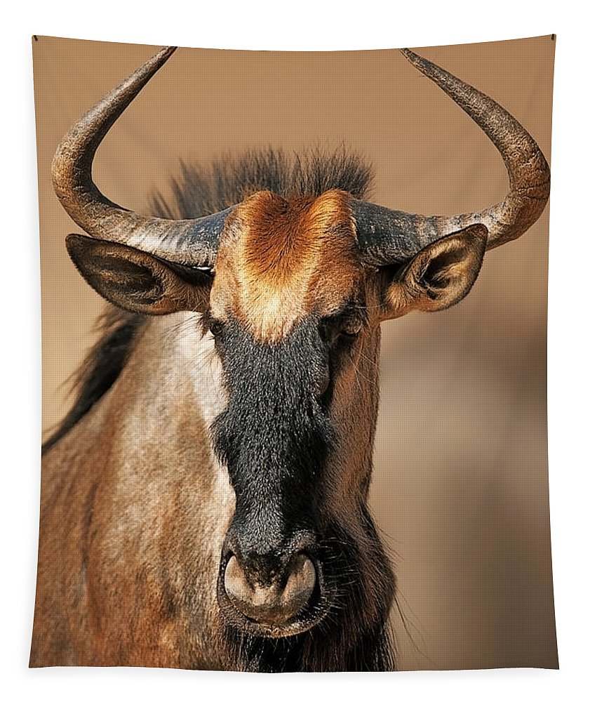 Wildebeest Tapestry featuring the photograph Blue Wildebeest Portrait by Johan Swanepoel