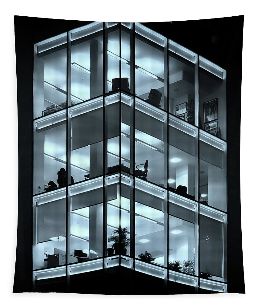 Business Tapestry featuring the photograph Blue Workplace by Philip Openshaw