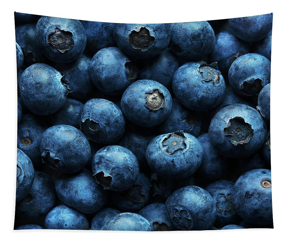 Blueberries Tapestry featuring the photograph Blueberries Background Close-up by Johan Swanepoel