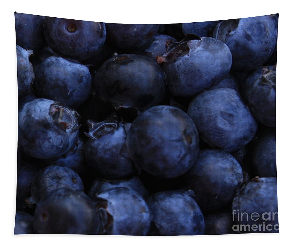 Blueberries Tapestry featuring the photograph Blueberries Close-up - Horizontal by Carol Groenen