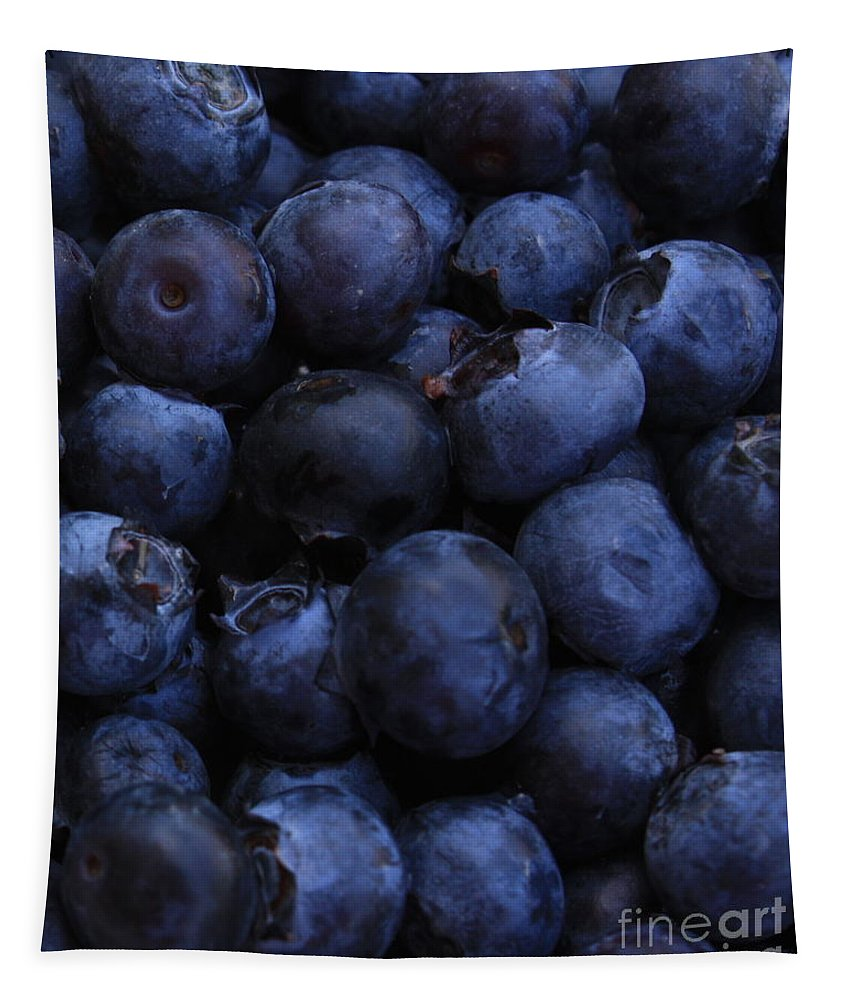 Blueberries Tapestry featuring the photograph Blueberries Close-up - Vertical by Carol Groenen