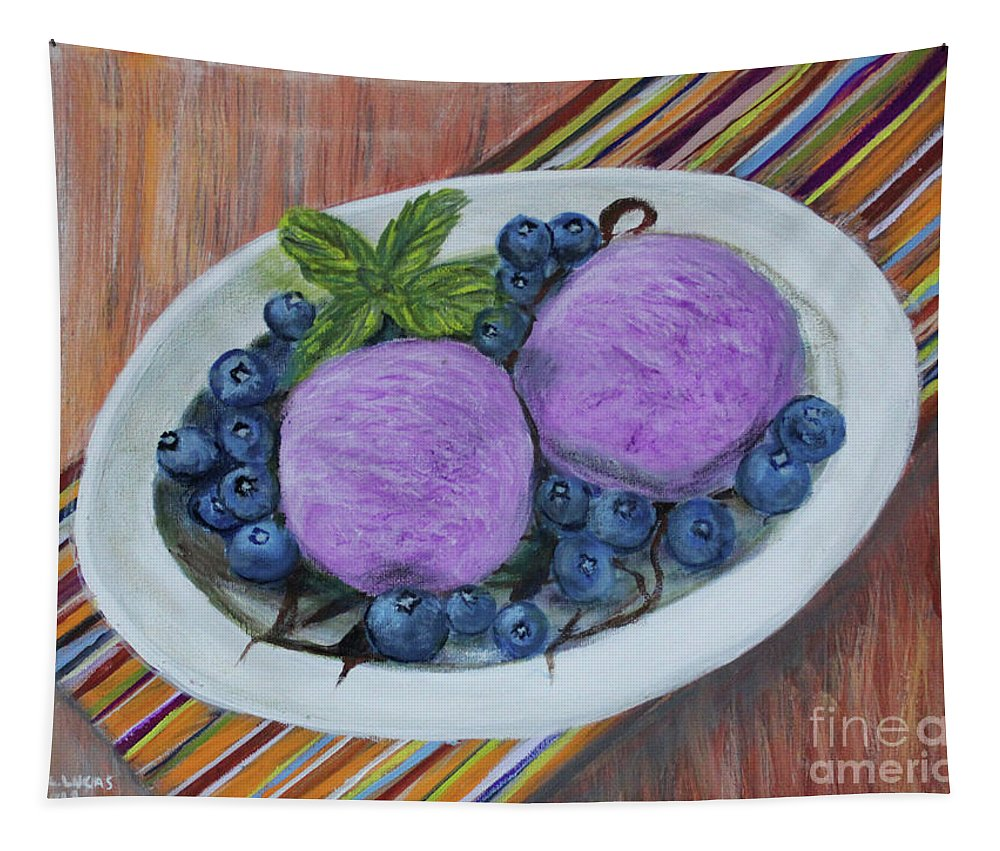 Still Life Tapestry featuring the painting Blueberry Ice Cream Party by Lyric Lucas