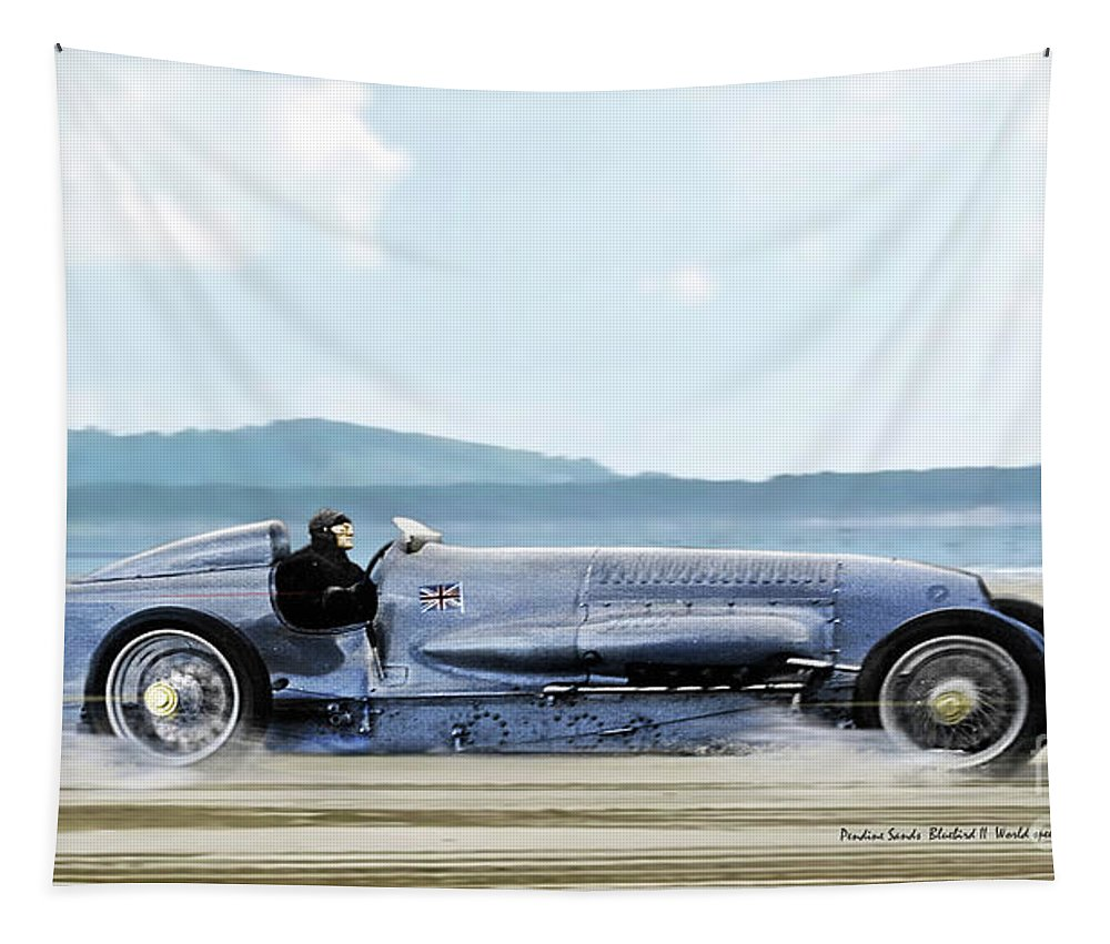Bluebird Ii Tapestry featuring the mixed media Bluebird II, 1928, World Record Land Speed Record At Pendine Sands, Wales, 178.88 Mph by Thomas Pollart