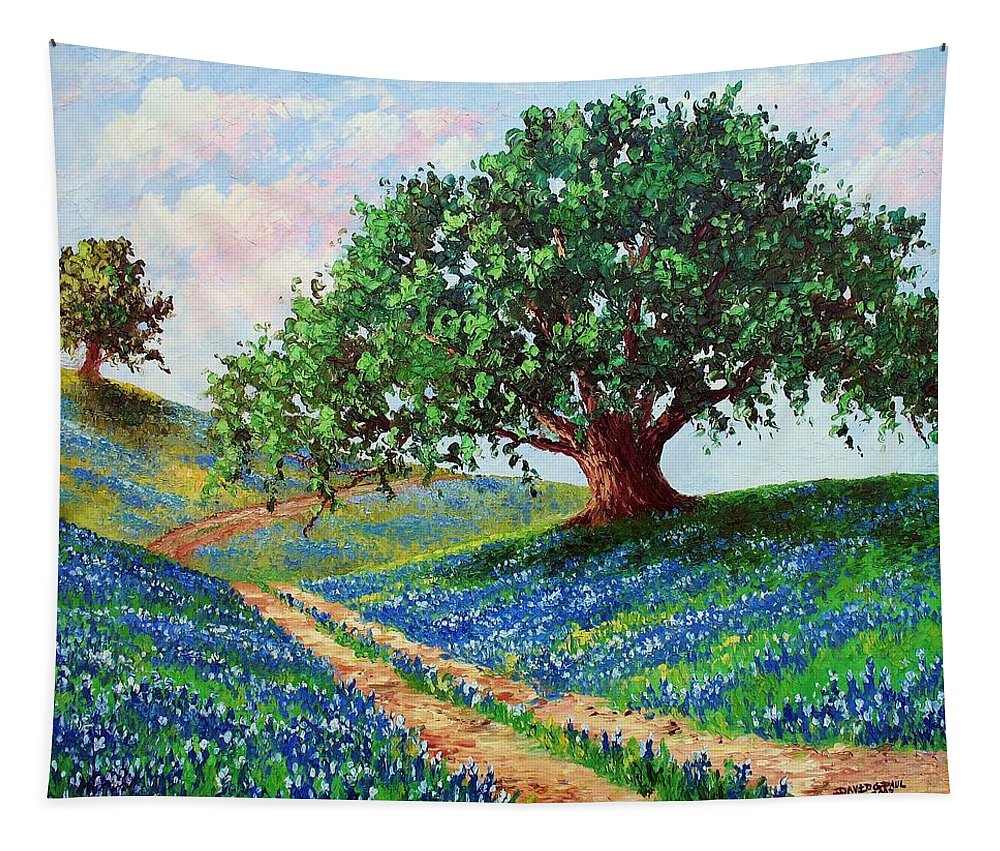 Bluebonnet Tapestry featuring the painting Bluebonnet Road by David G Paul