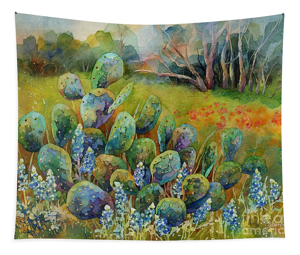Cactus Tapestry featuring the painting Bluebonnets and Cactus by Hailey E Herrera