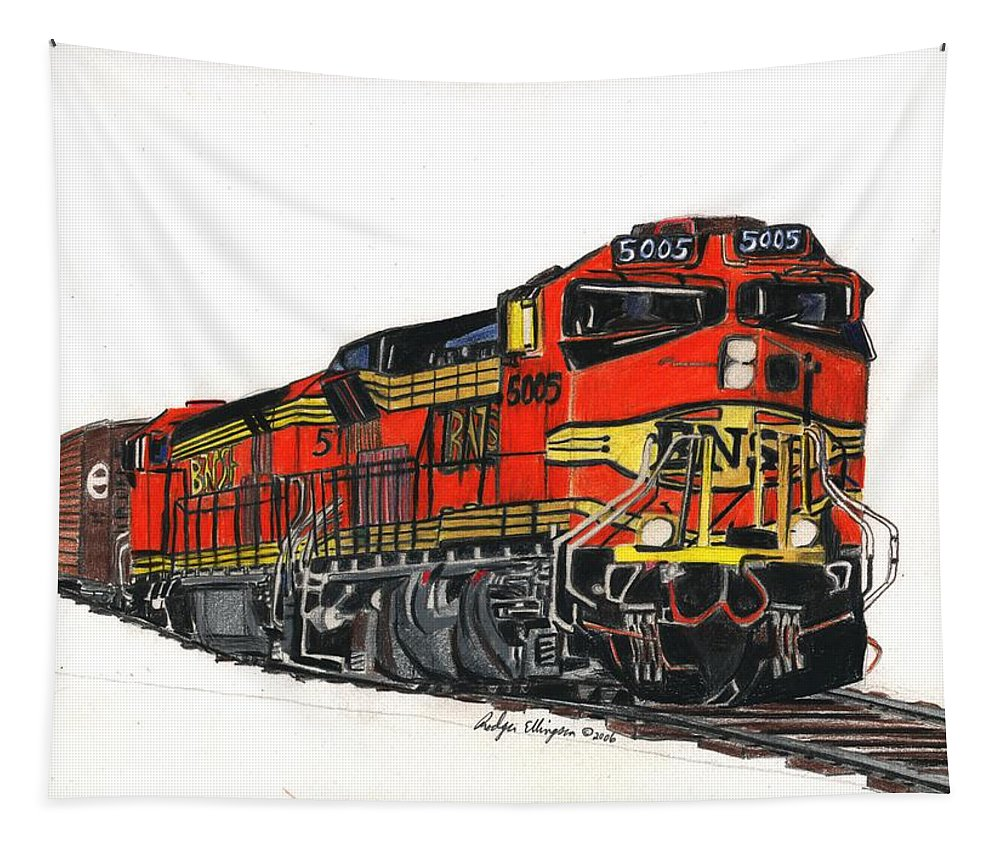 Drawing Tapestry featuring the drawing Bnsf by Rodger Ellingson