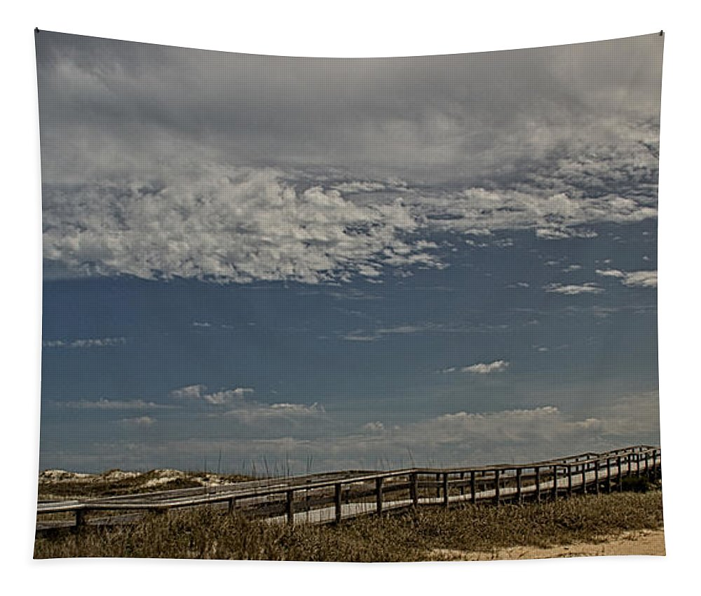 View Tapestry featuring the photograph Boardwalk To The Beach by Tom Gari Gallery-Three-Photography
