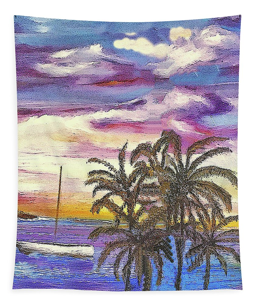 Kapoho Tapestry featuring the painting Anchored At Kapoho Lagoon by Michael Silbaugh