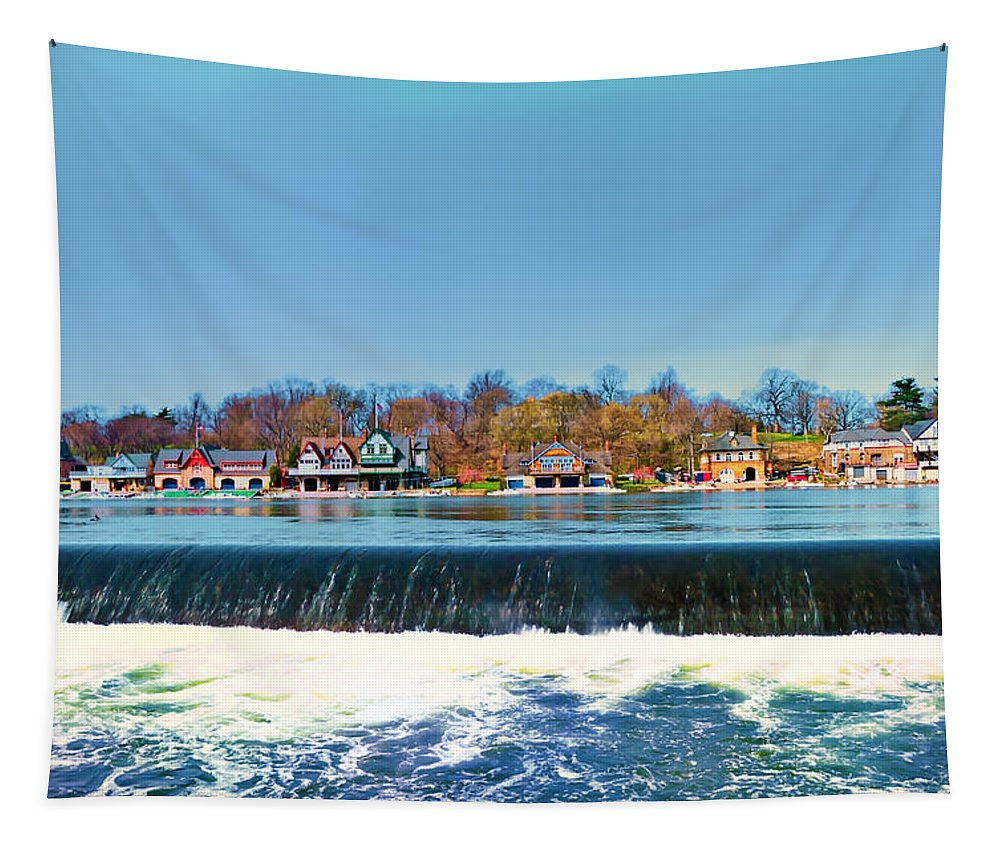 Philadelphia Tapestry featuring the photograph Boat House Row From Fairmount Dam by Bill Cannon
