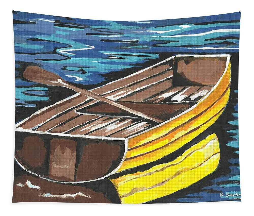 Nautical Tapestry featuring the painting Boat Reflections by Kathleen Sartoris
