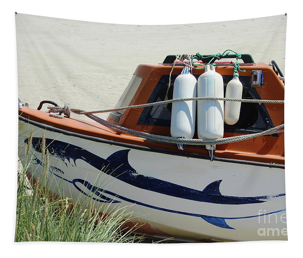 Boat Tapestry featuring the photograph Boat Shark Decoration Donegal by Eddie Barron