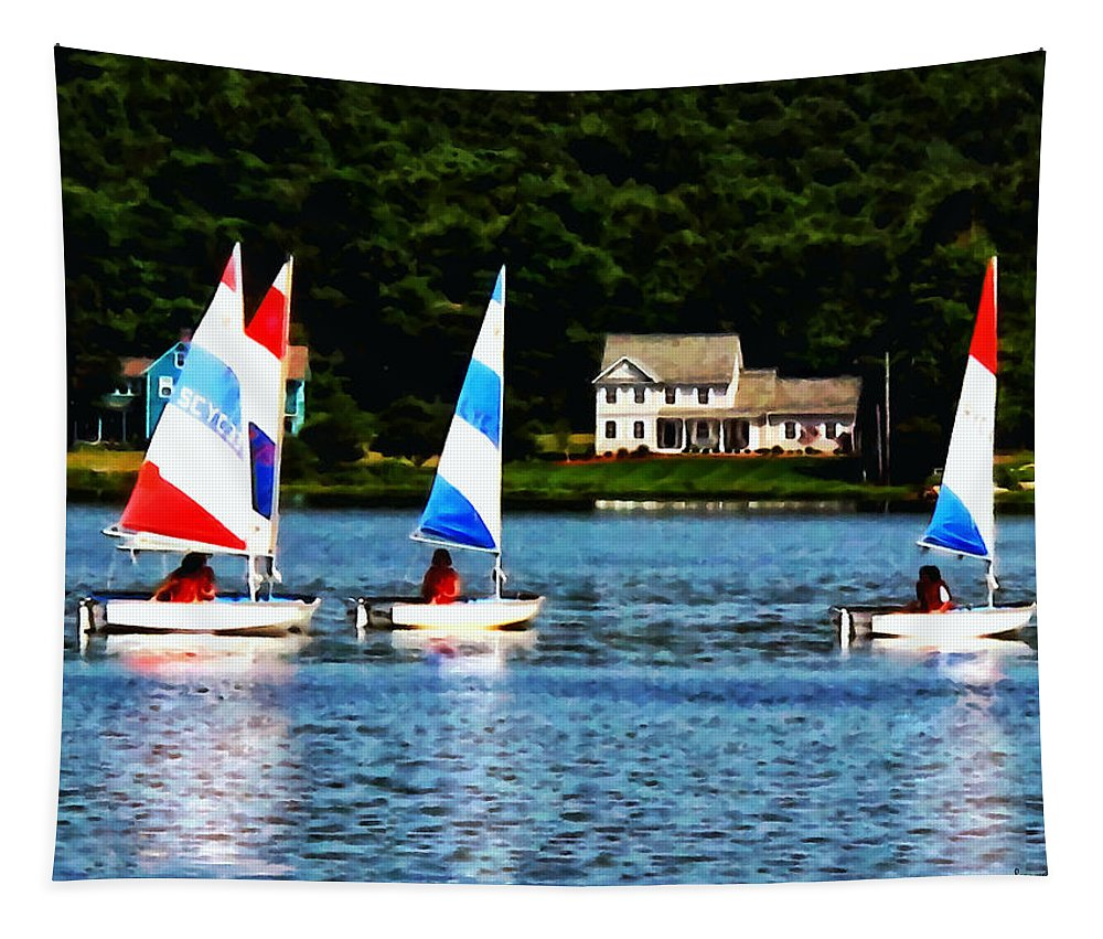 Boat Tapestry featuring the photograph Boat - Striped Sails by Susan Savad