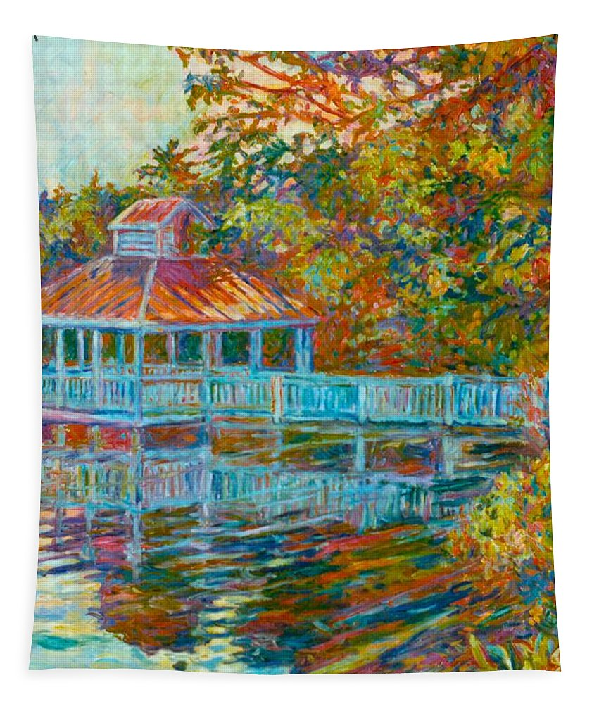Mountain Lake Tapestry featuring the painting Boathouse At Mountain Lake by Kendall Kessler