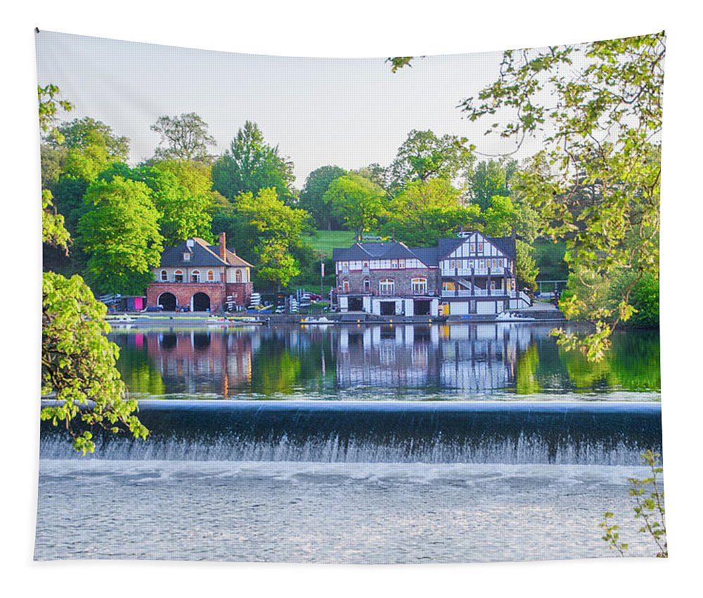 Boathouse Tapestry featuring the photograph Boathouse Row - Framed In Spring by Bill Cannon