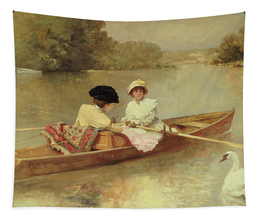 Boating On The Seine Tapestry featuring the painting Boating On The Seine by Ferdinand Heilbuth