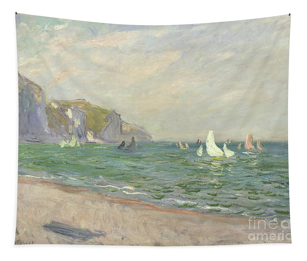 Boats Tapestry featuring the painting Boats below the Cliffs at Pourville by Claude Monet