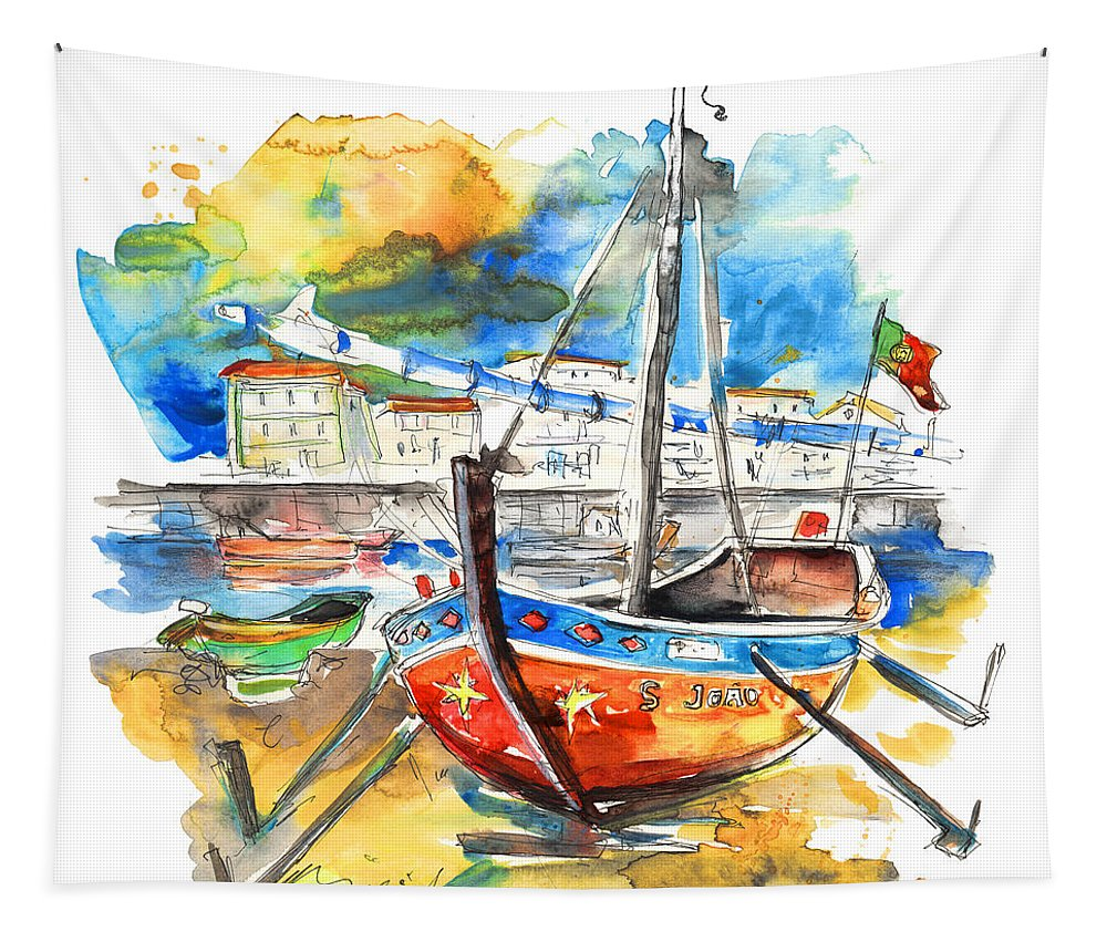 Portugal Tapestry featuring the painting Boats In Tavira In Portugal 02 by Miki De Goodaboom