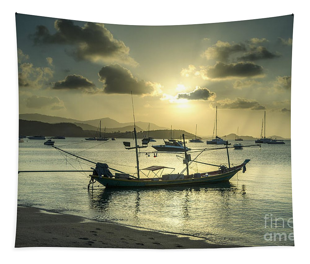 Michelle Meenawong Tapestry featuring the photograph Boats In The Bay by Michelle Meenawong