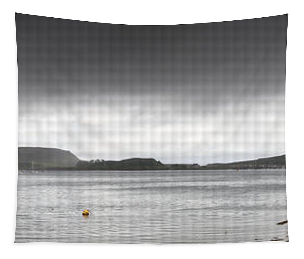 Moored Tapestry featuring the photograph Boats Moored In The Harbor Oban by John Short