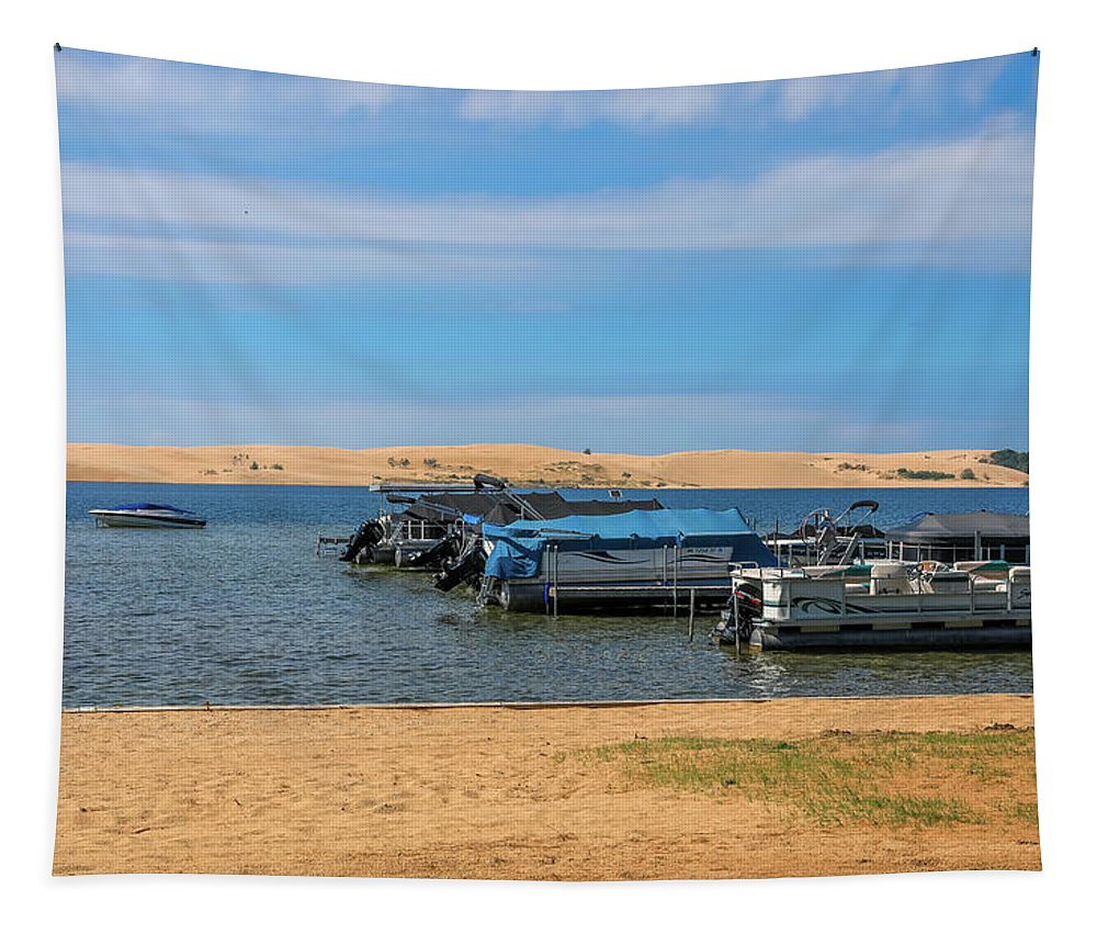 Boats On Silver Lake Michigan Tapestry featuring the photograph Boats On Silver Lake Michigan by Dan Sproul