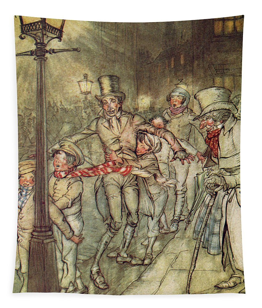 Bob Cratchit Tapestry featuring the drawing Bob Cratchit Went Down A Slide On Cornhill by Arthur Rackham