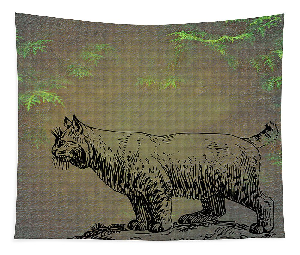 Bobcat Tapestry featuring the mixed media Bobcat by Movie Poster Prints