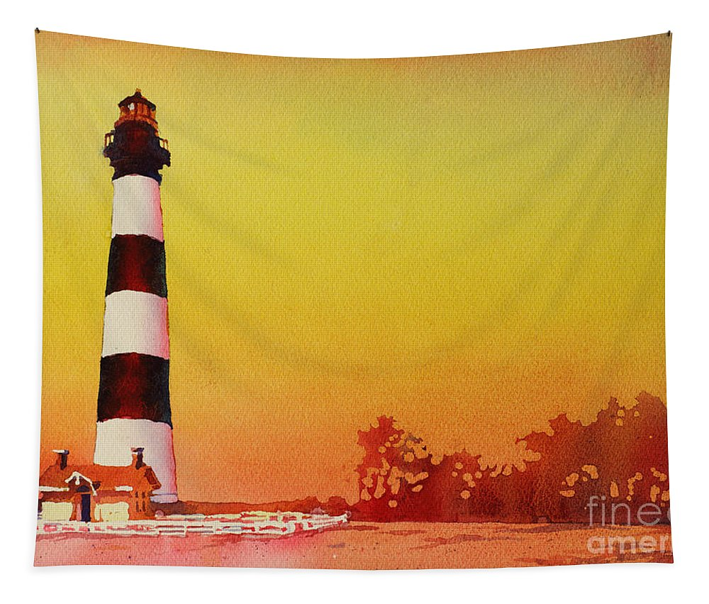 Art Reproductions Tapestry featuring the painting Bodie Island Lighthouse Sunset by Ryan Fox
