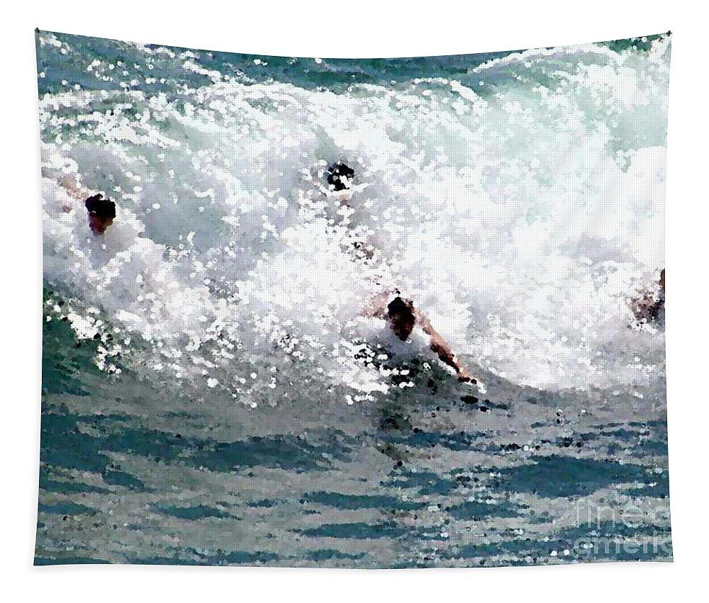 Body Surfing The Ocean Waves Tapestry featuring the painting Body Surfing The Ocean Waves by R Muirhead Art