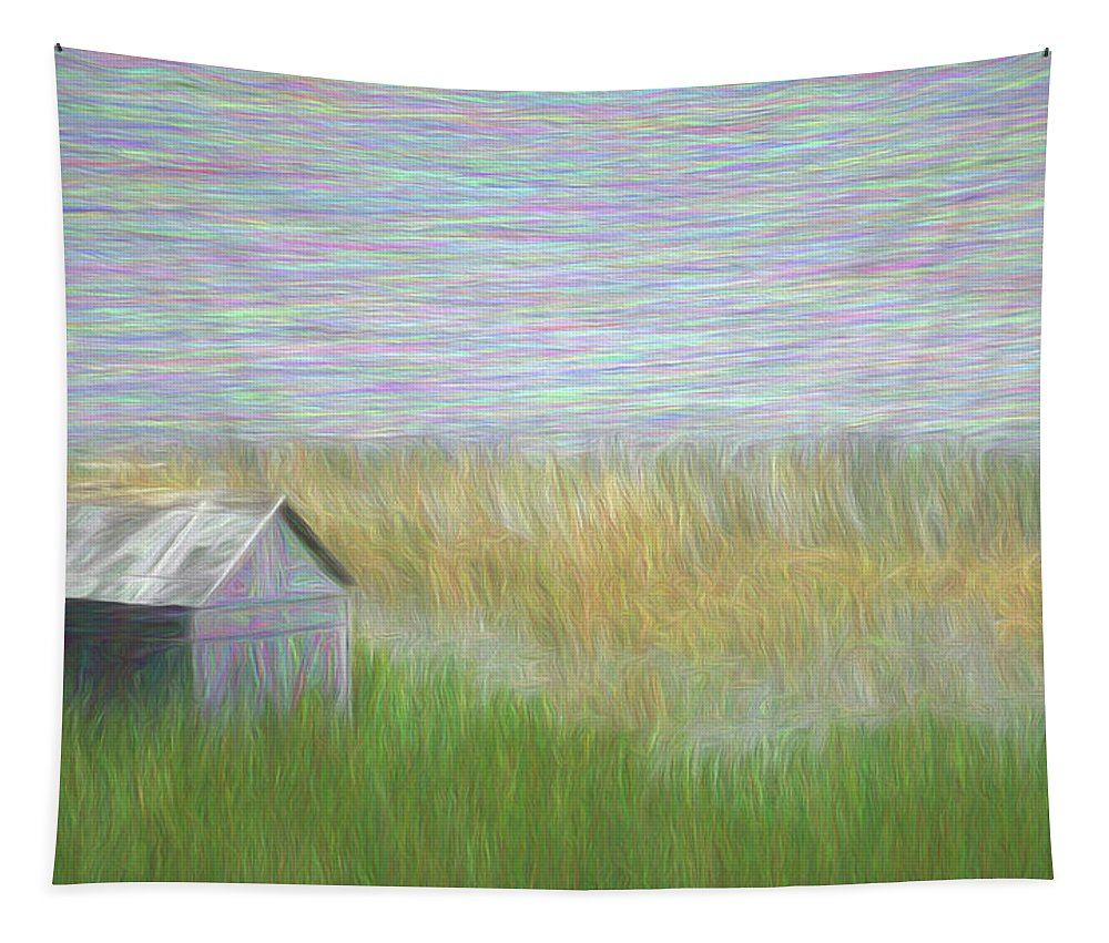 Old Shack Tapestry featuring the digital art Bogged Down by Leslie Montgomery