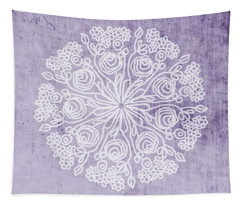 Purple Tapestry featuring the mixed media Boho Floral Mandala 1- Art by Linda Woods by Linda Woods