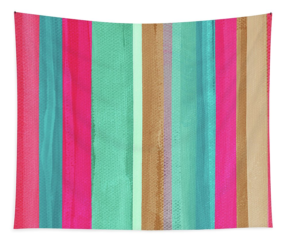 Boho Tapestry featuring the mixed media Boho Stripe- Art by Linda Woods by Linda Woods