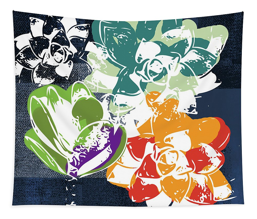 Succulents Tapestry featuring the mixed media Bold Succulents 1- Art By Linda Woods by Linda Woods