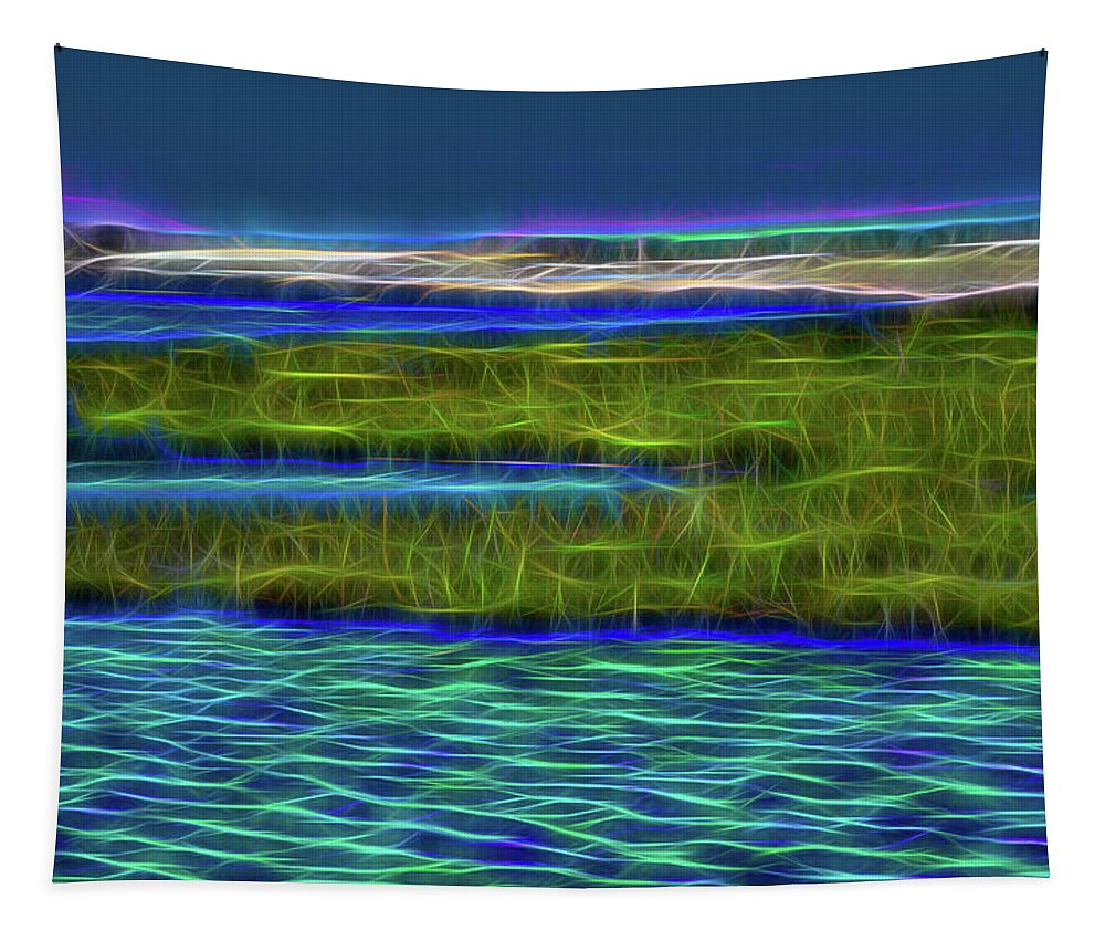 Linda Brody Tapestry featuring the digital art Bolsa Chica Wetlands I Abstract 1 by Linda Brody